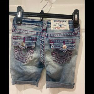 True Religion girl cut off shorts denim and pink